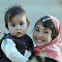Afghan girl with child